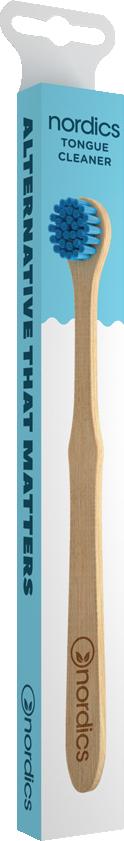 Nordics Zungenbürste Öko Bambus mit blauen Borsten
