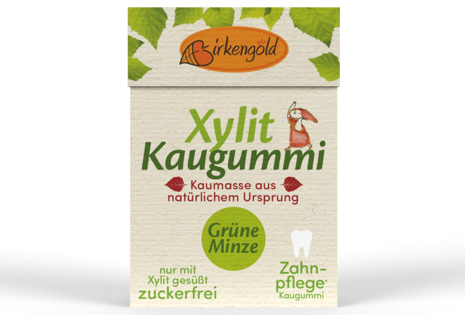 Birkengold Kaugummi Grüne Minze nat. Kaumasse